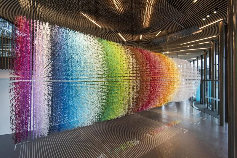 Colorful Numbers Suspended From the Ceiling in Color-Coded Installation by Emmanuelle Moureaux