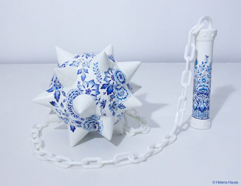 Paris-based artist Helena Hauss with delft-style porcelain and the brute force of barbed weaponry.