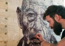 STUNNING BALLPOINT PEN ILLUSTRATIONS ON VINTAGE ENVELOPES, MAPS AND NEWSPAPERS by Mark Powell
