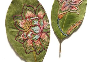 Merging Embroideries Embellish the Dried Leaf Sculptures of Hillary Waters Fayle