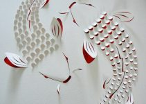 Australian paper artist Lisa Rodden cuts, slices, and folds thick layers of white paper on top of acrylic painting