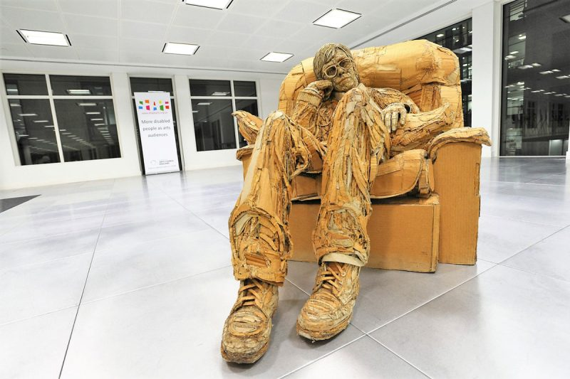 Artist James Lake has used cardboard and recyclable as his medium material to create free-standing figural sculptures